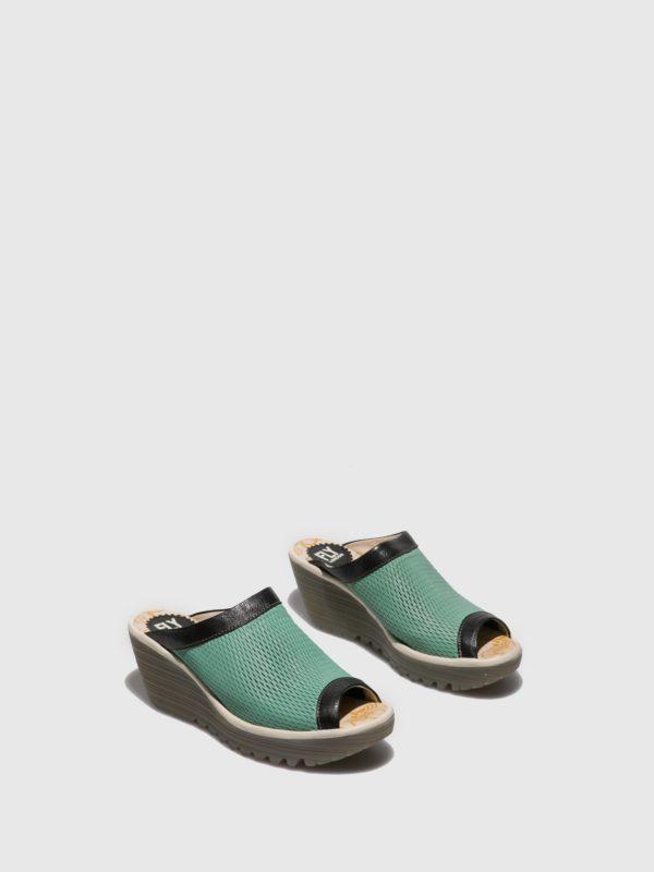 Sandalia zuecos turquesas