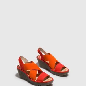 Sandalias cruzadas naranjas