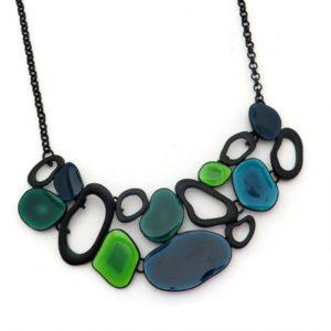 Collar de esmalte de resina verde/azul