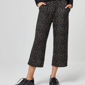 Pantalón cropped cintura elástica negro