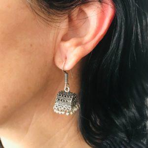 Pendientes étnicos para mujer estilo bohemio largo con borla Jhumka
