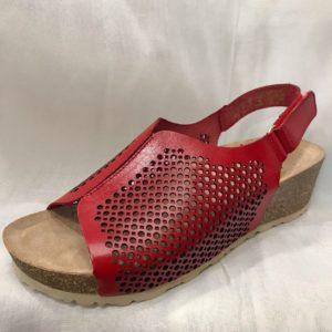 Sandalia piel roja con cuña